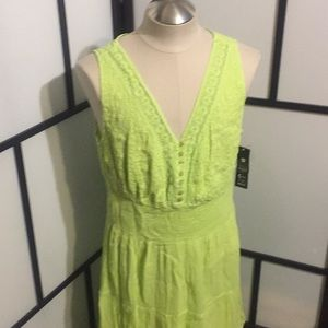 Tiered Cotton Dress with Lace & Embroidery Green